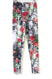Wholesale Printed Leggings Large Size - Wholesale- spring autumn women fahsion new national style ink printing large size colored floral leggings female