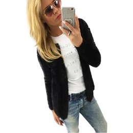 Wholesale Women Fleece Jackets Plus - Wholesale- 2016 New Women Autumn Winter Warm Fleece Sweaters Jackets Ladies Fashion Long Sleeve Solid Slim Jacket Coat Cardigan Plus Size
