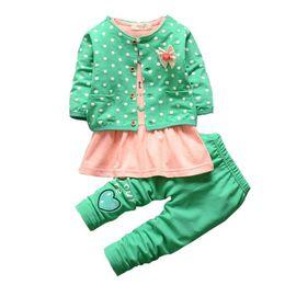 Wholesale Boys Dress Clothes 3pcs - Wholesale- 2017 3Pcs Baby Girls Polka Dot Warm Coat +Tops Dress +Pants Sets Kids Clothes Outfits