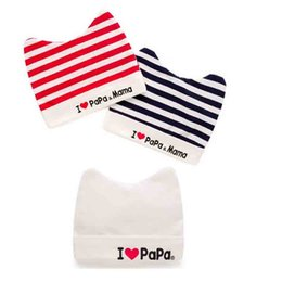 Wholesale Top Hats For Baby Girls - I Love Mama Newborn Baby Girl Cotton Top Hat Stripe Winter Knitted Beanie For Toddler Boys