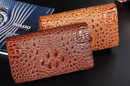 Wholesale Animal Print Clutches - Men clutch bags genuine crocodile leather men Long purses double zipper cow leather inner big volume 23*13*4.5cm buisness casual bags