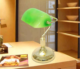 Wholesale Vintage Stained Glass Table Lamp - Vintage Bank Table Lamps Retro Brass Bankers Lamp Green Glass Lampshade Office Study Room Table Lamps Desk Lamp