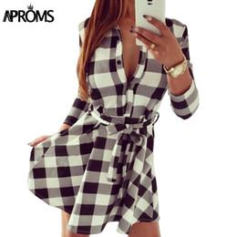 Wholesale Plaid Tunic Dress - Wholesale- Autumn Winter Women Dress Casual Three Quarter Sleeve White Black Plaid Print Tunic Shirt Dresses Big Size Robe 10635