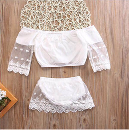 Wholesale Cute Long Shorts - Retail Ins New Summer Baby Girls Two Piece Clothing Sets Off Shoulder Lace Tshirts+Shorts Fashion Outfits Infant Clothes SH013