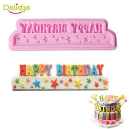 Wholesale Happy Birthday Mold - 1pc Silicone Cake Mold 3D Happy Birthday Words Fondant Cake Decorating Mould DIY Kitchen Baking Cake Tools