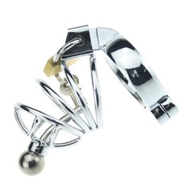 Wholesale Small Metal Chastity Cages - Super Small Male Metal Chastity Devices Cages with Urethral Catheter Cock Cage BDSM Sex Toys Stainless Steel Chastity Belt Penis Lock