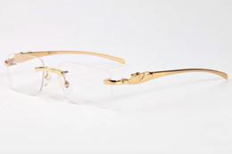 Wholesale Gold Lens Mirror Sunglasses - France Brand Buffalo sunglasses men plain mirror glasses gold leopard metal frame clear lens optical men sunglasses with original box case