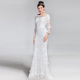 Wholesale Inexpensive Long Sleeve Dresses - Top Selling In Stock Mermaid Evening Dresses Bateau Neck Beaded Cap Sleeves Sexy Backless Sweep Train Chiffon Inexpensive Prom Pageant Gowns