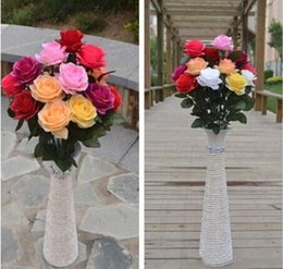 Wholesale Cheap Wholesalers Artificial Flowers - New Styles Artificial Rose Silk Craft Flowers Real Touch Flowers For Wedding Christmas Room Decoration 10 Color Cheap Sale