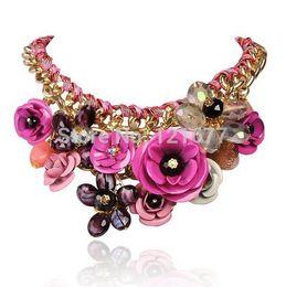 Wholesale Hot Pink Statement Necklaces - Wholesale- Rosy PINK Necklaces & Pendants Hot Sale Transparent Big Resin Crystal Flower Vintage Choker Statement Necklace Fashion Jewelry