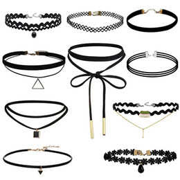 Wholesale Tattoos Express - Women's Choker Necklace Set Stretch Velvet Classic Gothic Tattoo Lace Retro Black Necklaces Choker Mixed Style EXPRESS TO USA GY1001