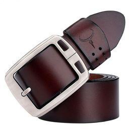 Wholesale Vintage Leather Waist Belt - cowhide genuine leather belts for men brand Strap male pin buckle vintage jeans belt 100-150 cm long waist 30-52 XF001