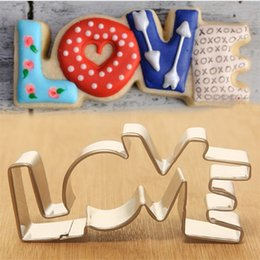 Wholesale Heart Shape Cutters - Lover Series Design Stainless Steel Cookie Cutter LOVE Letter Shape Forms A Arrow Through Heart Cake Mold Valentine's Day Baking Tool