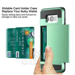Wholesale Slide Back Case - for Apple iPhone 7 plus 6 6S Plus Cell Phone Case with Slid Card Holder Mobile Back Cover Shell Protector Shockproof With logo