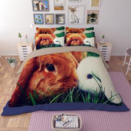 Couette reine lapin en Ligne-Amazing Kissing Rabbit Impression Literie Ensembles Twin Full Queen King Size Literie Tissu Coton Housses De Couette Oreiller Shams Douillette Animal