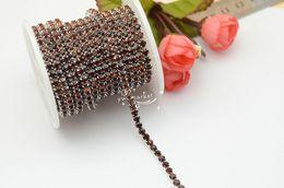 Wholesale Topaz Sew Rhinestones - SS16 Crystal Rhinestone Close Chain Trims smoke topaz Color x 6 Meter Sewing Accessories