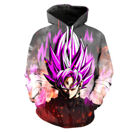 Wholesale Dragon Ball Coat - Dragon Ball Z Hoodies 3D Printed Pullovers Sportswear Sweatshirts Dragonball Super Saiyan 4 Son Goku Black Zamasu Coat Outfit