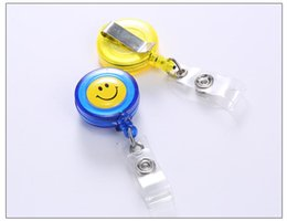 Wholesale Transparent Plastic Round Beads - Smiley badge easy to pull buckle easy to pull retractable buckle waist buckle sets of documents spreaders transparent promotional card sets