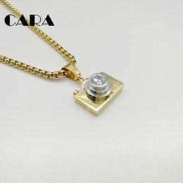 Wholesale Silver Camera Necklaces - CARA New arrival 316L Stainless steel Camera necklace pendant with Cubic zirconia stone 60cm popcorn chain necklace CARA0122