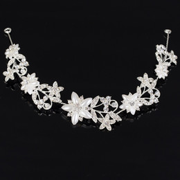 Wholesale Silver Butterfly Headband - Bridal Wedding Hair Vine Tiara Bling Headband Crown Bride Prom Bridesmaid Crystal Pearl Decorative Butterfly Floral Jewelry Accessories