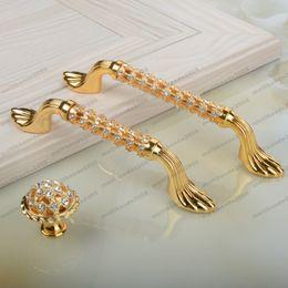 "Wholesale Diamond Furniture Wholesale - 2017 NEW 96mm 128mm 24K gold rhinestone win cabinet dresser door handle glass diamond drawer knob pull fashion deluxe furniture handle 5"" MY"