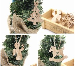 Wholesale Outdoor Deer Decoration - Hot Sale Christmas Tree Crafts Decoration Wooden Pendant Ornaments Snowflakes Deer Tree Heart & Star & Angel Home Decorations