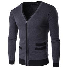 Wholesale Gray Cardigan Sweater Men - Men's sweater fashion simple cotton fake pocket zipper man imported wool cardigan coat 4 sizes color dark gray black