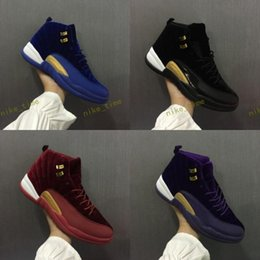 Wholesale Rubber Wine Corks - 2017 With Box Air Retro 12 Royal Blue Black Purple Wine Red Suede Velvet Heiress Basketball Shoes Sneakers for Men Women Outdoor Sports Shoe