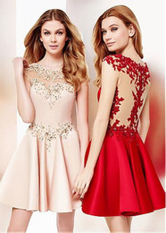 Wholesale White Feathers Sale - Hot-Sale! Homecoming Dresses With A-line Jewel Neckline Short Mini Satin Applique Beads Zipper Up Sweet Homecoming Dresses #LL60011