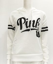 Wholesale picture tees - Autumn Real Picture Pink Letter brand women long sleeve sweatshirts hoodies Black Casual Top Tee 4 Colors Hooded