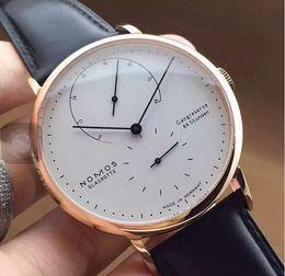 Wholesale Men Slim Watches - NOMOS Business Leather Steel Analog men Quartz Watch ultra thin Men Quartz Watch Slim Casual Wristwatch Men's Relojes Hombre