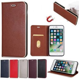 Wholesale Wholesale Magnetic Cards - For iPhone 7 6 plus 5 Luxury Flip Stand Case with Card Slot PC Magnetic Magnet Phone Case For Samsung S8 Plus S7 Edge