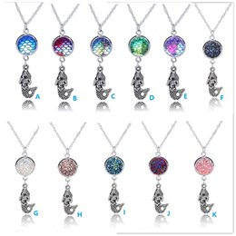 Wholesale Druzy Charms - Hot The Mermaid Charms Necklace Fashion Silver Plated Druzy Drusy Stone Necklace Trendy Woman Jewelry Wholesale