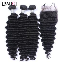 Виргинские волосы онлайн-Перуанские Малайзийские бразильские девственные волосы плетет 3 пучка с верхней кружева закрытия глубокой волны вьющиеся 8а Индийский камбоджийский Реми человеческих волос закрытия