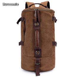 Wholesale Retro Luggage - Wholesale- Men Backpack Canvas Travel Duffle Bags Cylindrical Retro Backpacks School Luggage Bag Packing Cubes