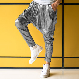 Wholesale Men Big Crotches - Wholesale-Male personality silver big crotch trousers stage performance costumes harem pants mens hip hop skinny pants