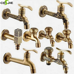 Wholesale Free Tapping Machines - Wholesale- Modern Free Shipping Antique Brass Decorative Outdoor Faucet Tap Bathroom Washing Machine  Mop Faucet