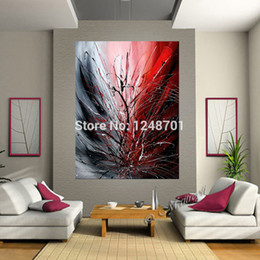 Wholesale Textured Artwork - Handpainted OVERSIZE LARGE Abstract red oil Painting Modern Decor Textured canvas artwork lobby office home wall decor