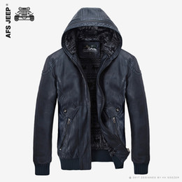 Wholesale Genuine Leather Parka - Wholesale- 2017 New PU Leather Jacket Men Hooded Brand Long Warm Winter Leather Jackets Coats High Quality Business Slim Fit Parka Male