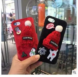 Wholesale Black Santa Hats - New Year gift cartoon fluffy hats Merry Christmas Case for iphone 7 7plus 6 6s plus Santa Claus Tree Reindeer plush back cover