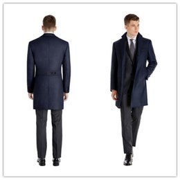 Wholesale Man Topcoat - Wholesale- new Arriving winter Classic Men Long 2 buttons with belt back back dark blue cashmere custom made mens topcoat