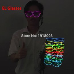 Wholesale El Wire Glow Costumes - Wholesale- 10 Colors el glasses El Wire Fashion Neon LED Light Up Sun glasses Glow Rave Costume Party DJ Bright Glasses Light-up toys
