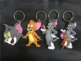 Wholesale Double Men Toys - America anime Tom and Jerry Keychain PVC two-side Keychain double Tom PVC Keychain Action Figures Fashion Toys For Christmas Gift
