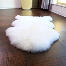 Wholesale Natural Sofas - NewZealand 1P 70*100cm real sheepskin rug natural white color shaggy sheep skin carpet for home decor fur floor cover sofa cover blanket