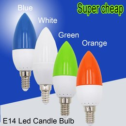 Wholesale E14 Red - Wholesale- Lampada Lamp Beautiful Color 220V 3w E14 LED Candle Light Orange Red Blue Green LED Bulb Lamp For indoor Home Party Decoration