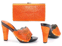Wholesale Office Leather Bags For Women - 17041704 New Orange Sandals Matching Shoes and Bags for African Partys Italian Shoes with Matching Bags African Wedding Shoe and Bag Sets