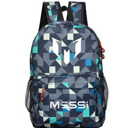 Wholesale Backpack Logos - 2017 Messi Logo Teenagers School Book Backpack Soccer Bag Football Shoulder Bags Sports Travel Bag Gift For Kids Mochila Escolar
