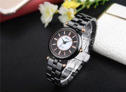 Wholesale Bu Black - MISS FOX Ladies Ceramic Watch Black Bracelet Bands Rose Gold Watch Water Resistant Butterfly Clasp Bu Quartz Clock For Women Girl