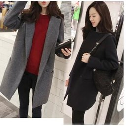 Wholesale Cheap Woolen Coats Women - Free Shipping HOT SELLING CHEAP Autumn And Winter, The New Korean Version Women Long Style Of Simple Suit And Cotton Long Coat Cashmere