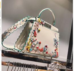 Wholesale Green Women Big Bags - 2017 Women Peekaboo Bag Embroidery Famous Brand Designer Tote Big Handbag Shoulder Bags Printing Rivet Waves Luxury Bags Purse
